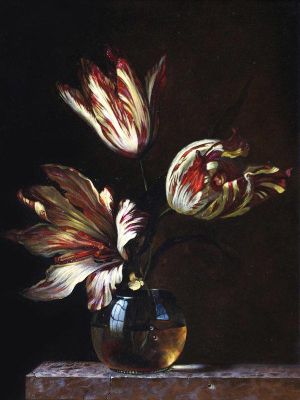 Tulips, oil on linen, 33 x 28cm